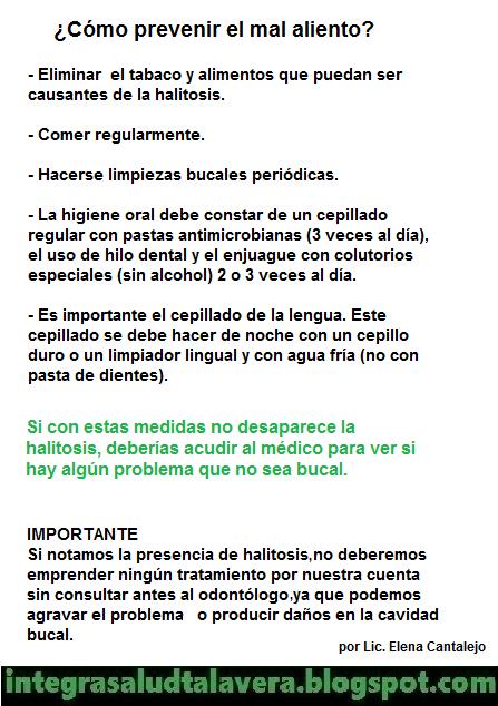 Infografía sobre prevención de halitosis. Fuente: Integra Salud Talavera
