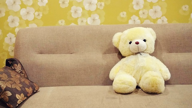 Peluche sobre sofá