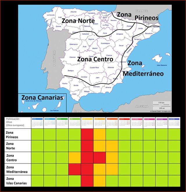 Polinización Olivos Zonas España