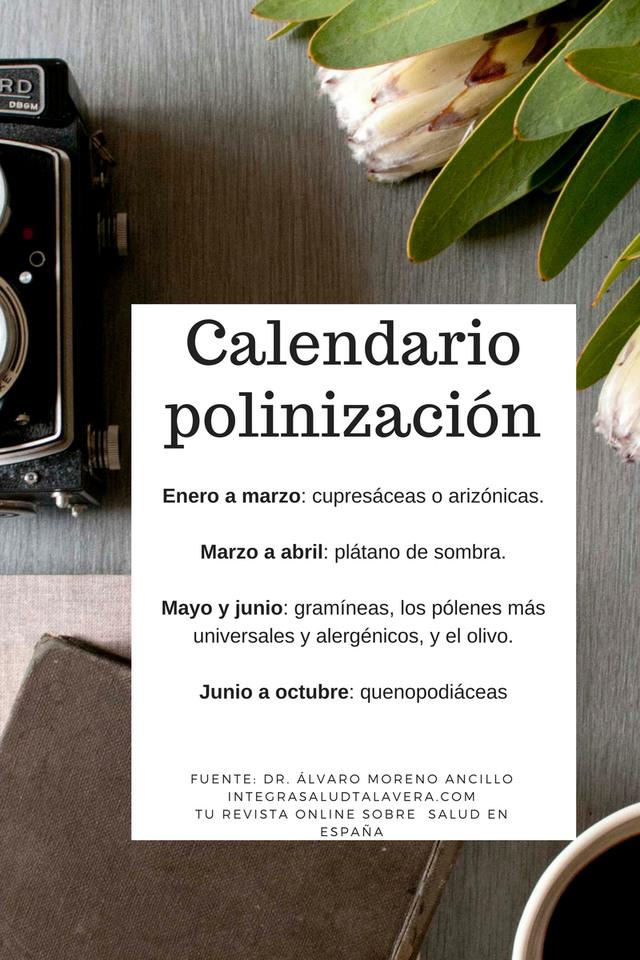 Calendario de alergia al polen.