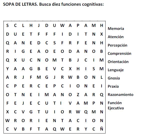 Sopa de letras 7. funciones cognitivas